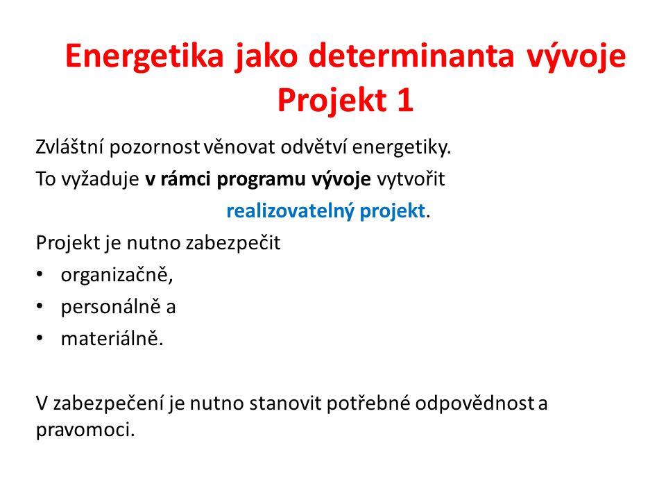 Energetika jako determinanta vývoje Projekt 1 Zvláštní pozornost věnovat odvětví energetiky. To vyžaduje v rámci programu vývoje vytvořit realizovatel