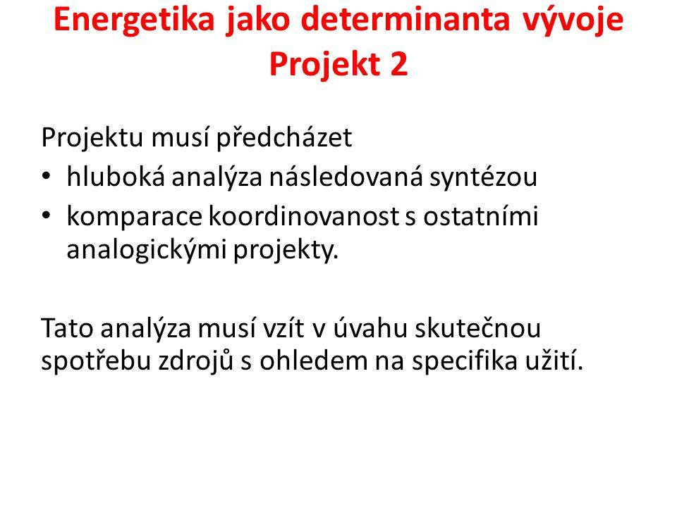 Energetika jako determinanta vývoje Projekt 2 Projektu musí předcházet hluboká analýza následovaná syntézou komparace koordinovanost s ostatními analo