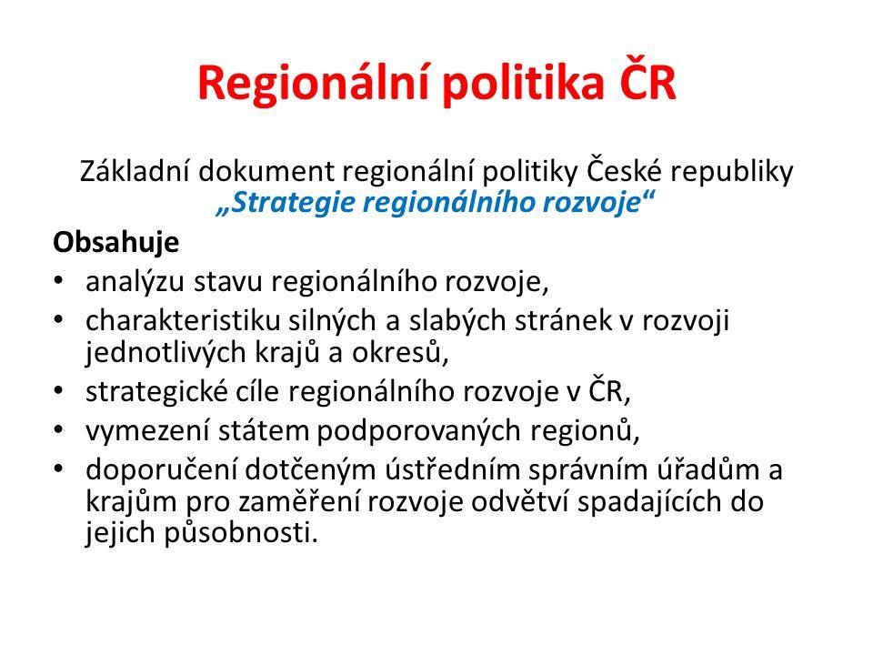 """Základní dokument regionální politiky České republiky """"Strategie regionálního rozvoje"""" Obsahuje analýzu stavu regionálního rozvoje, charakteristiku si"""