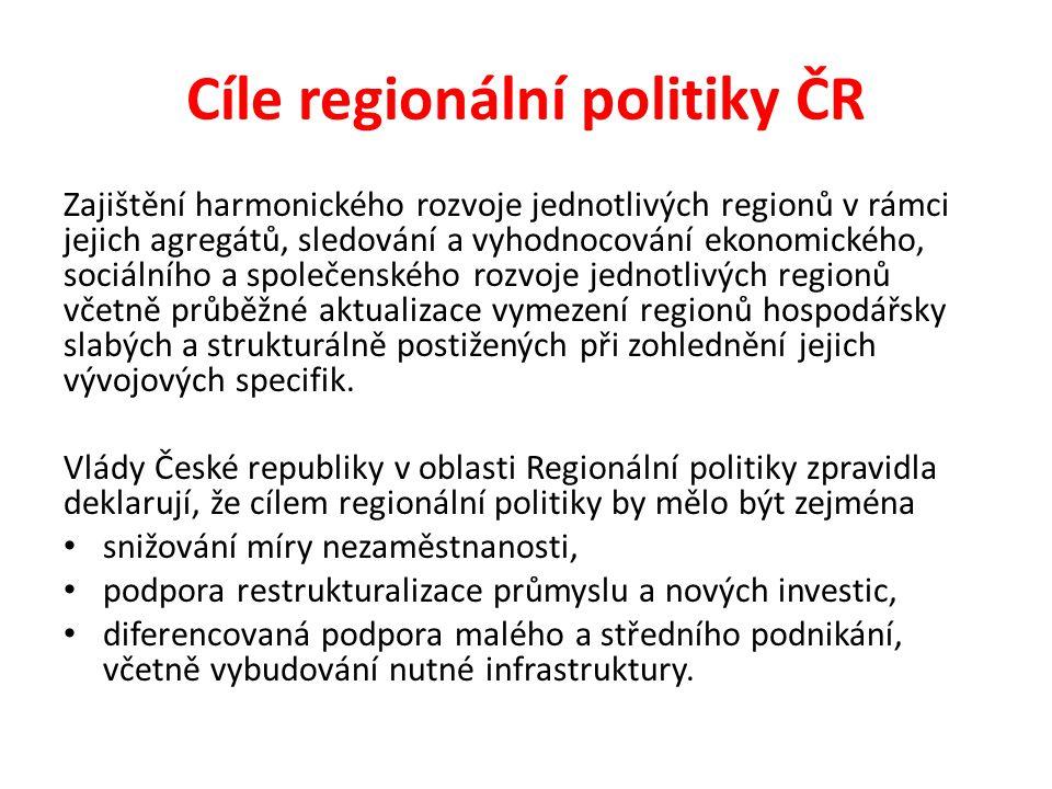 Cíle regionální politiky ČR Zajištění harmonického rozvoje jednotlivých regionů v rámci jejich agregátů, sledování a vyhodnocování ekonomického, sociá