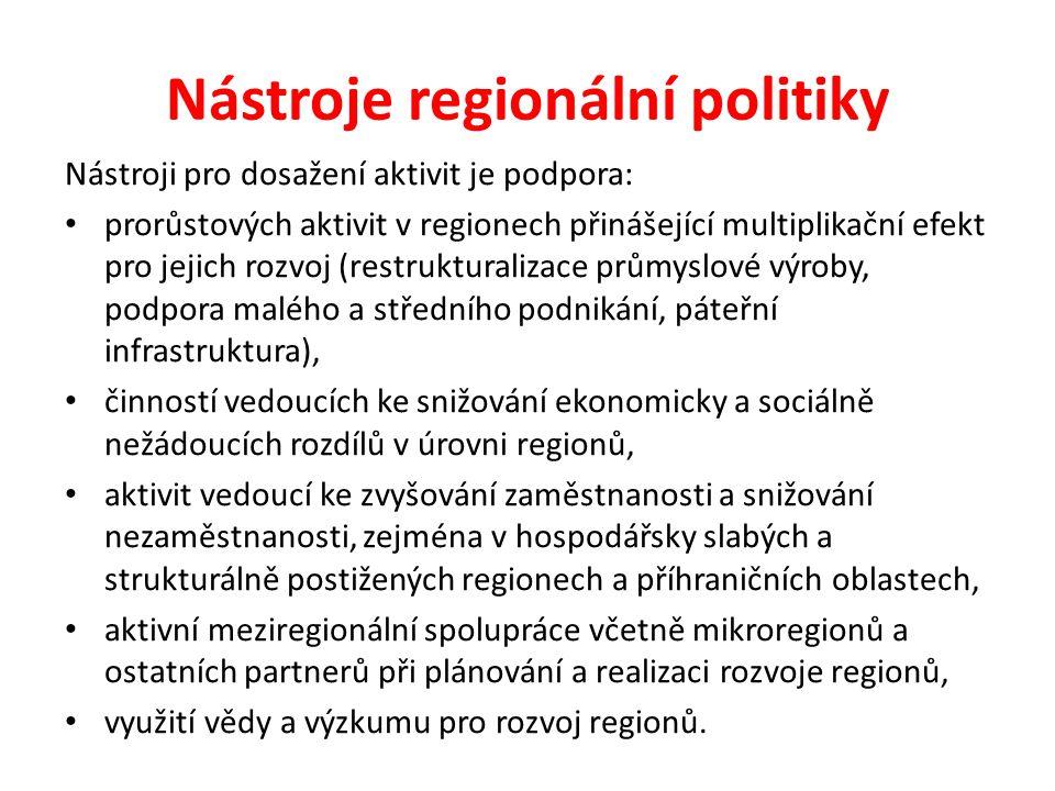Nástroje regionální politiky Nástroji pro dosažení aktivit je podpora: prorůstových aktivit v regionech přinášející multiplikační efekt pro jejich roz