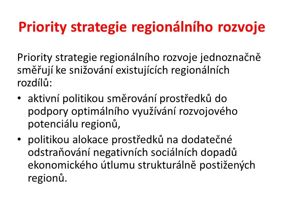 Priority strategie regionálního rozvoje Priority strategie regionálního rozvoje jednoznačně směřují ke snižování existujících regionálních rozdílů: ak