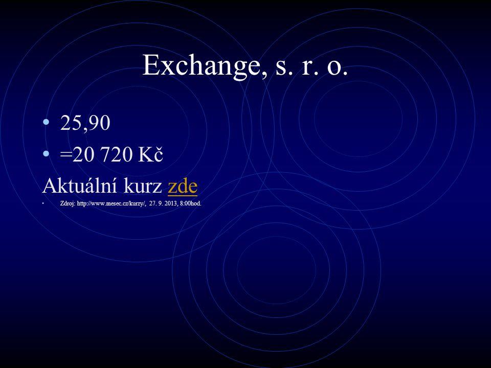 Exchange, s. r. o. 25,90 =20 720 Kč Aktuální kurz zdezde Zdroj: http://www.mesec.cz/kurzy/, 27. 9. 2013, 8:00hod.