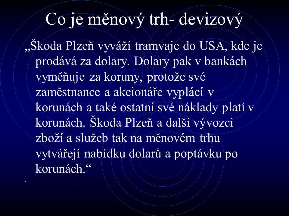 """Co je měnový trh- devizový """"Škoda Plzeň vyváží tramvaje do USA, kde je prodává za dolary. Dolary pak v bankách vyměňuje za koruny, protože své zaměstn"""
