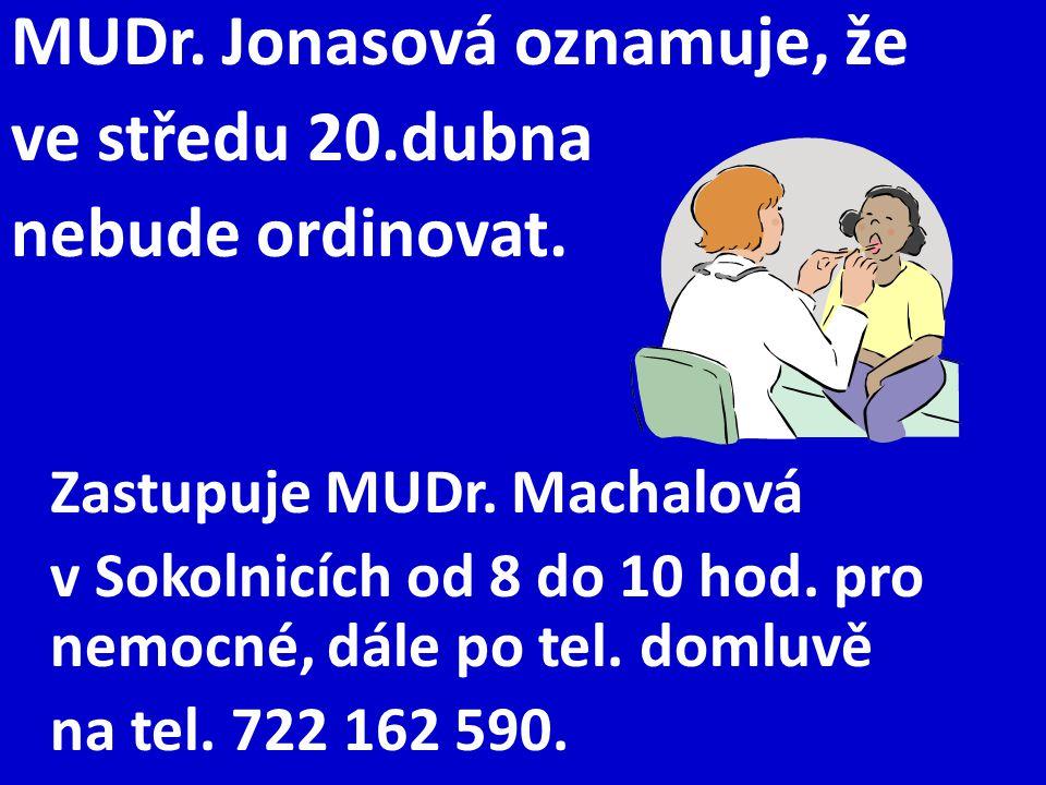 MUDr. Jonasová oznamuje, že ve středu 20.dubna nebude ordinovat. Zastupuje MUDr. Machalová v Sokolnicích od 8 do 10 hod. pro nemocné, dále po tel. dom