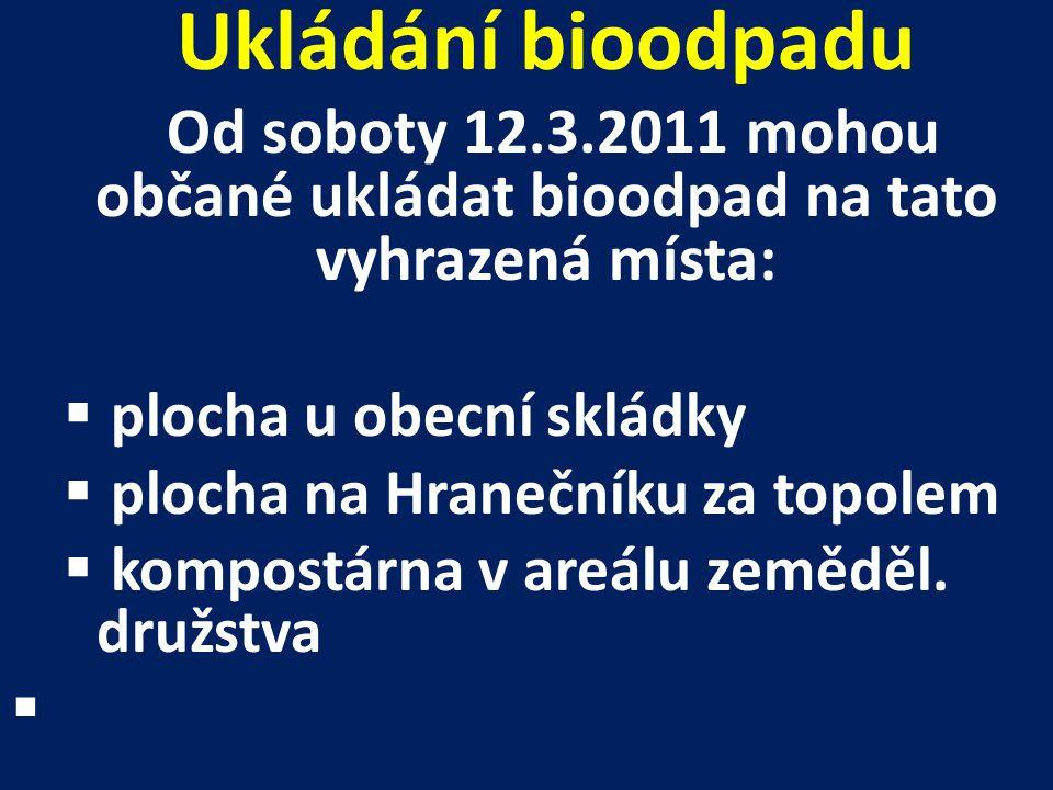 Ukládání bioodpadu Od soboty 12.3.2011 mohou občané ukládat bioodpad na tato vyhrazená místa:  plocha u obecní skládky  plocha na Hranečníku za topo