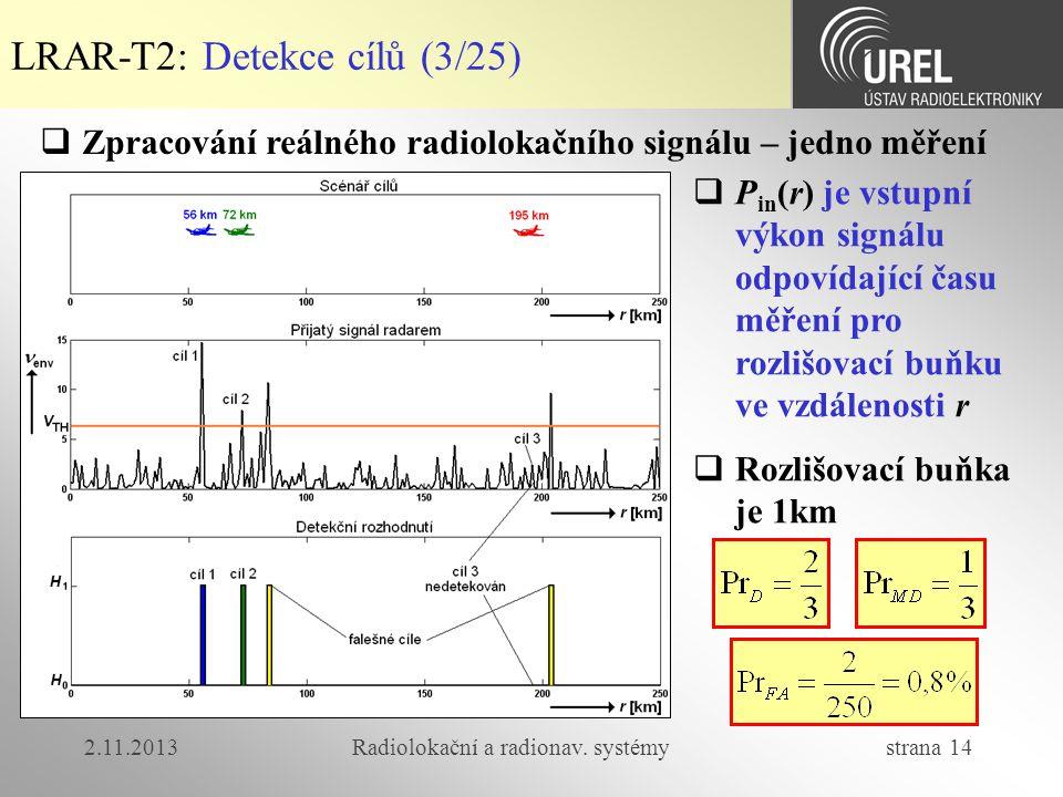 2.11.2013Radiolokační a radionav. systémy strana 14 LRAR-T2: Detekce cílů (3/25)  Zpracování reálného radiolokačního signálu – jedno měření  P in (r