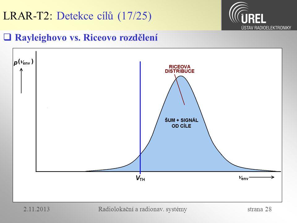 2.11.2013Radiolokační a radionav. systémy strana 28 LRAR-T2: Detekce cílů (17/25)  Rayleighovo vs. Riceovo rozdělení