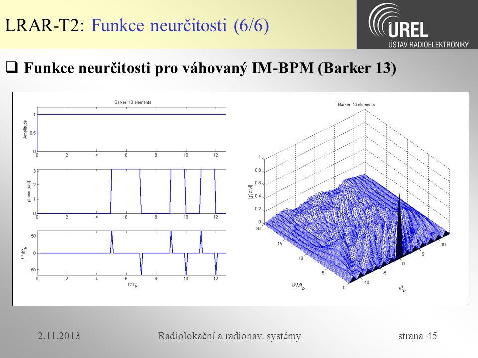 2.11.2013Radiolokační a radionav. systémy strana 45 LRAR-T2: Funkce neurčitosti (6/6)  Funkce neurčitosti pro váhovaný IM-BPM (Barker 13)