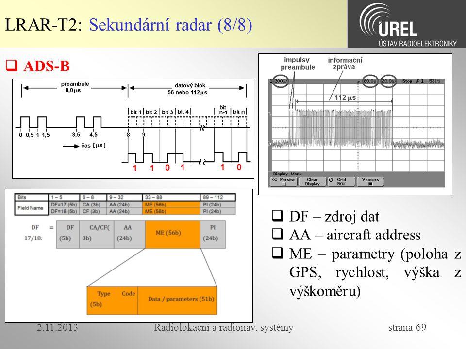 2.11.2013Radiolokační a radionav. systémy strana 69 LRAR-T2: Sekundární radar (8/8)  ADS-B  DF – zdroj dat  AA – aircraft address  ME – parametry