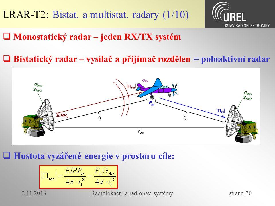 2.11.2013Radiolokační a radionav. systémy strana 70  Monostatický radar – jeden RX/TX systém  Bistatický radar – vysílač a přijímač rozdělen = poloa