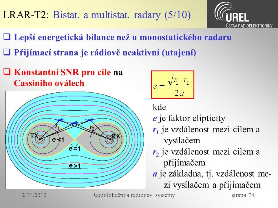2.11.2013Radiolokační a radionav. systémy strana 74 LRAR-T2: Bistat. a multistat. radary (5/10)  Konstantní SNR pro cíle na Cassiniho oválech kde e j