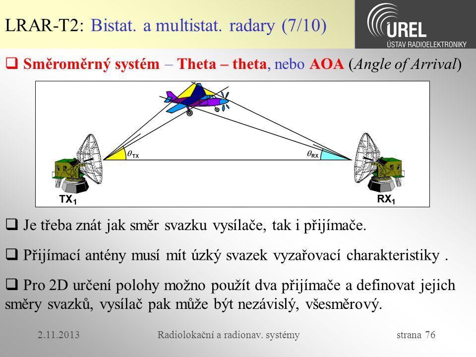 2.11.2013Radiolokační a radionav. systémy strana 76 LRAR-T2: Bistat. a multistat. radary (7/10)  Směroměrný systém – Theta – theta, nebo AOA (Angle o