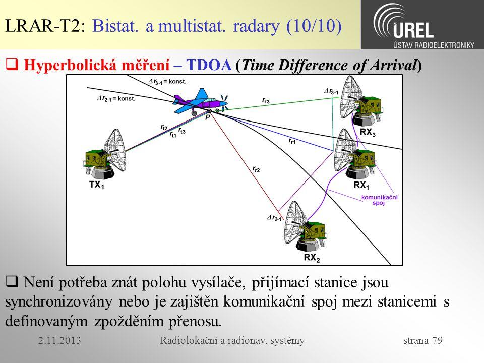 2.11.2013Radiolokační a radionav. systémy strana 79 LRAR-T2: Bistat. a multistat. radary (10/10)  Hyperbolická měření – TDOA (Time Difference of Arri
