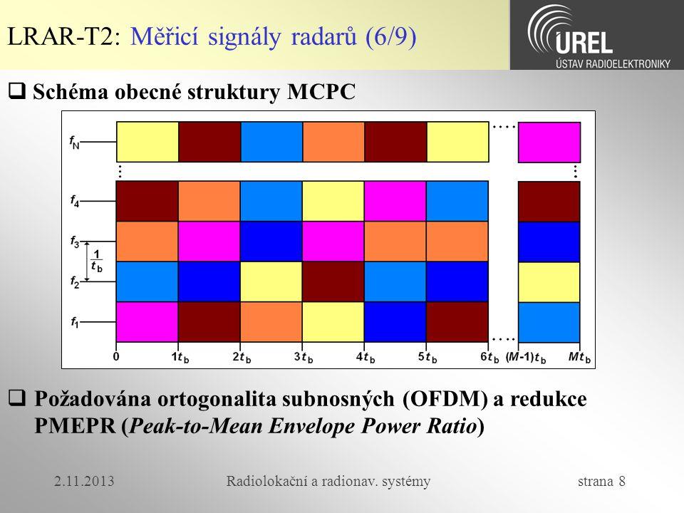 2.11.2013Radiolokační a radionav. systémy strana 8 LRAR-T2: Měřicí signály radarů (6/9)  Schéma obecné struktury MCPC  Požadována ortogonalita subno