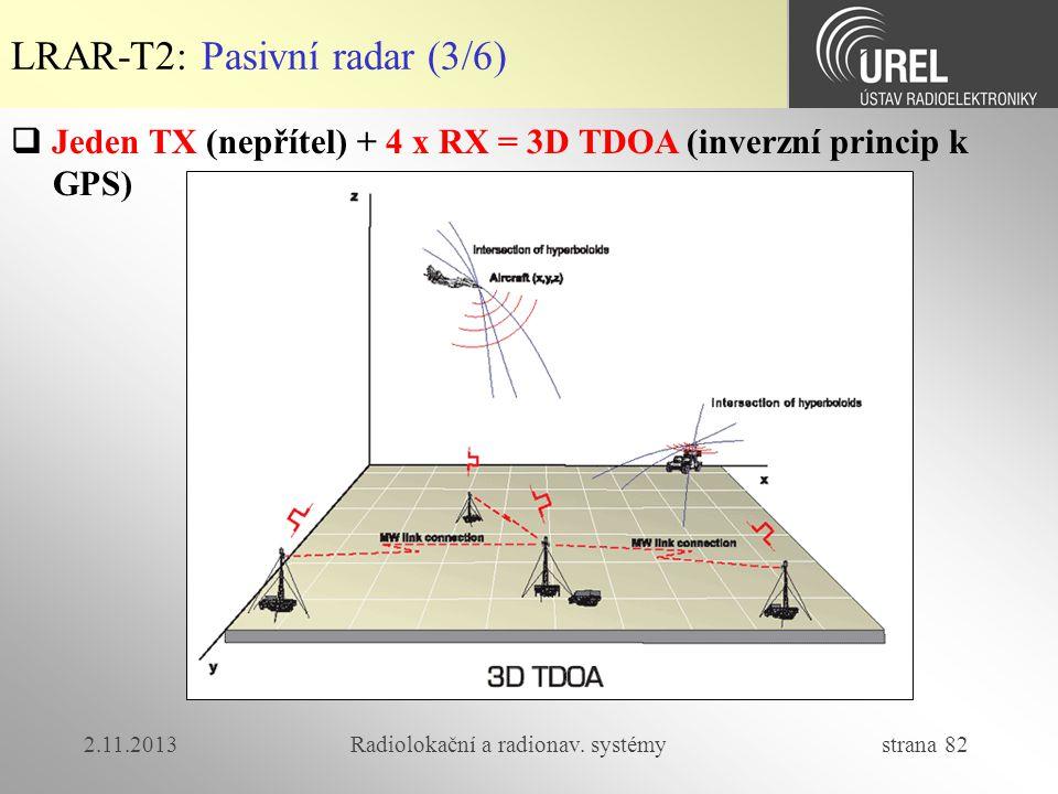 2.11.2013Radiolokační a radionav. systémy strana 82 LRAR-T2: Pasivní radar (3/6)  Jeden TX (nepřítel) + 4 x RX = 3D TDOA (inverzní princip k GPS)