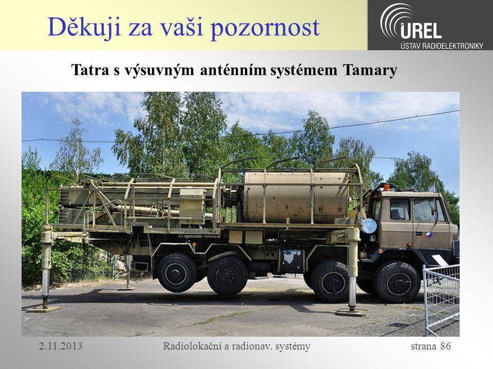 2.11.2013Radiolokační a radionav. systémy strana 86 Děkuji za vaši pozornost Tatra s výsuvným anténním systémem Tamary