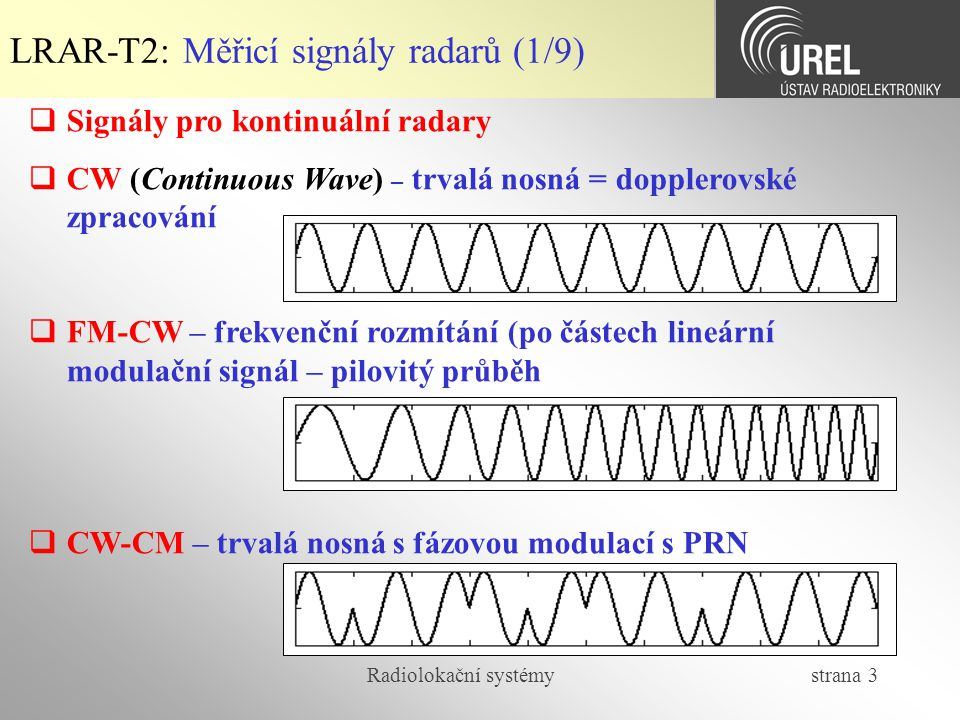 Radiolokační systémy strana 4 LRAR-T2: Měřicí signály radarů (2/9)  Signály pro impulsní radary  IM – pravoúhlé pulsy bez vnitropulsní modulace  IM-LFM – pravoúhlé pulsy s vnitropulsní lineární frekvenční modulací  IM-AWLFM – pulsy s vnitropulsní lineární frekvenční modulací a amplitudovým váhováním