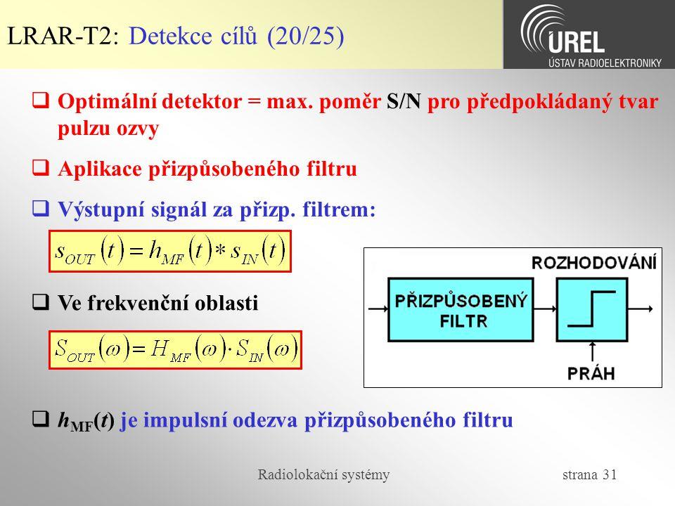 Radiolokační systémy strana 31 LRAR-T2: Detekce cílů (20/25)  Optimální detektor = max. poměr S/N pro předpokládaný tvar pulzu ozvy  Aplikace přizpů