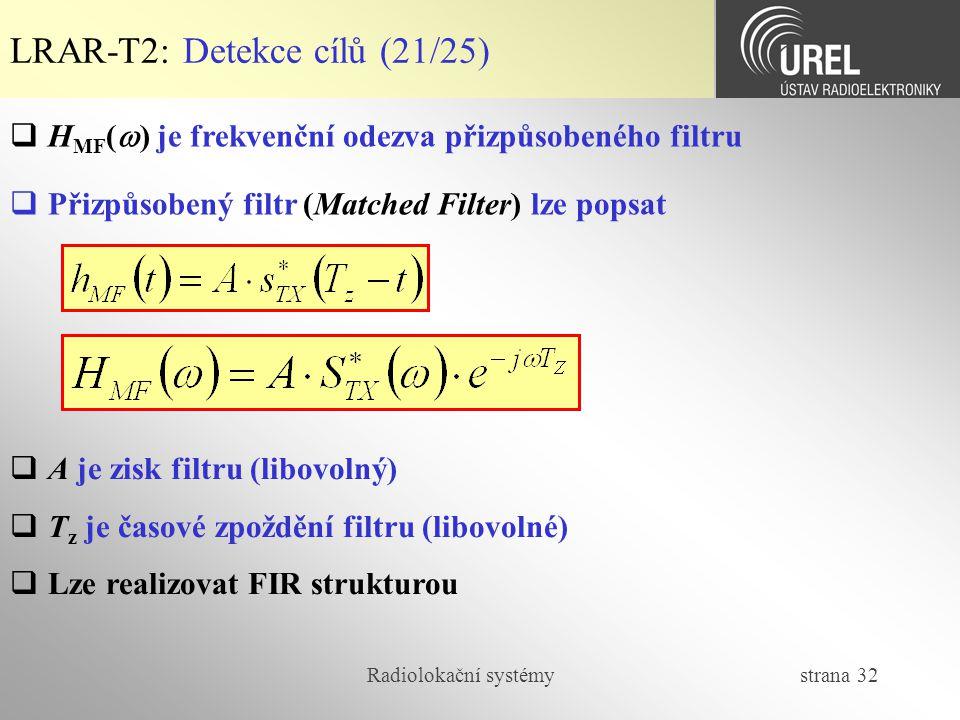 Radiolokační systémy strana 32 LRAR-T2: Detekce cílů (21/25)  H MF (  ) je frekvenční odezva přizpůsobeného filtru  Přizpůsobený filtr (Matched Fil