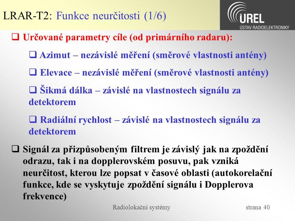Radiolokační systémy strana 40 LRAR-T2: Funkce neurčitosti (1/6)  Určované parametry cíle (od primárního radaru):  Azimut – nezávislé měření (směrov