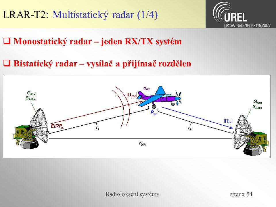 Radiolokační systémy strana 54  Monostatický radar – jeden RX/TX systém  Bistatický radar – vysílač a přijímač rozdělen LRAR-T2: Multistatický radar