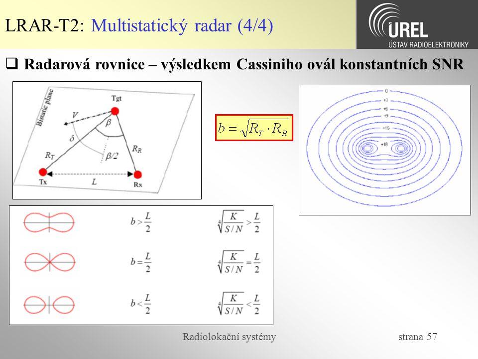 Radiolokační systémy strana 57 LRAR-T2: Multistatický radar (4/4)  Radarová rovnice – výsledkem Cassiniho ovál konstantních SNR