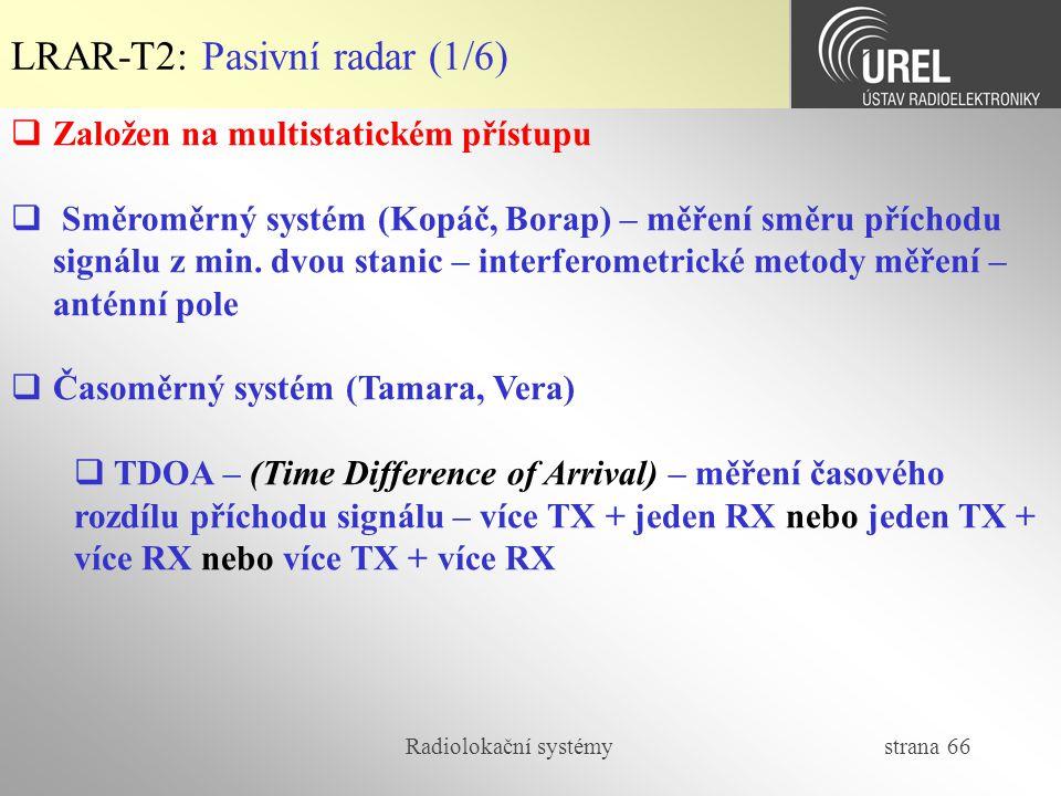 Radiolokační systémy strana 66  Založen na multistatickém přístupu  Směroměrný systém (Kopáč, Borap) – měření směru příchodu signálu z min. dvou sta