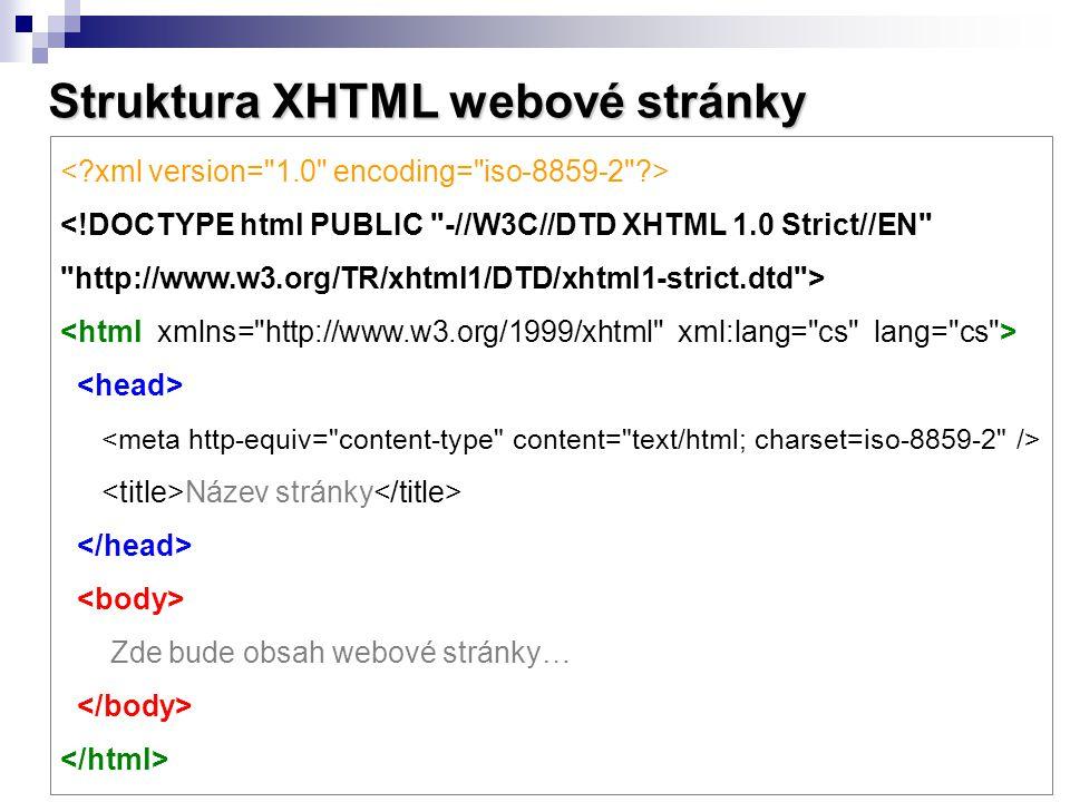 Struktura XHTML webové stránky <!DOCTYPE html PUBLIC