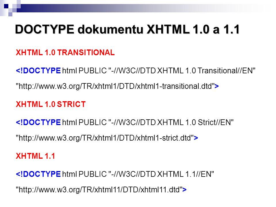 DOCTYPE dokumentu XHTML 1.0 a 1.1 XHTML 1.0 TRANSITIONAL XHTML 1.0 STRICT XHTML 1.1