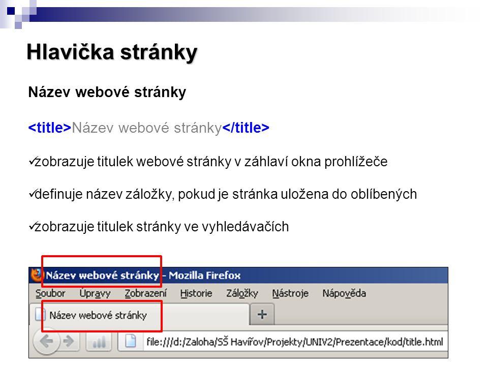 Hlavička stránky Název webové stránky zobrazuje titulek webové stránky v záhlaví okna prohlížeče definuje název záložky, pokud je stránka uložena do o