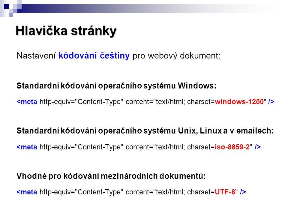 Hlavička stránky Nastavení kódování češtiny pro webový dokument: Standardní kódování operačního systému Windows: Standardní kódování operačního systém