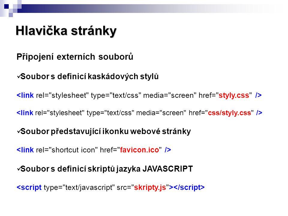 Hlavička stránky Připojení externích souborů Soubor s definicí kaskádových stylů Soubor představující ikonku webové stránky Soubor s definicí skriptů