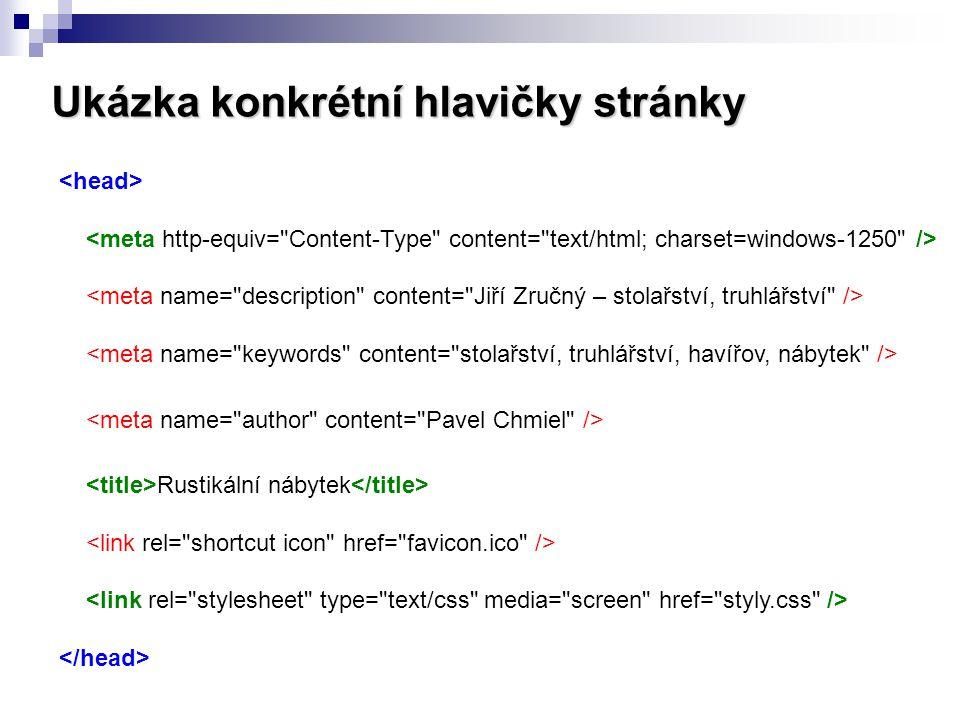 Ukázka konkrétní hlavičky stránky Rustikální nábytek