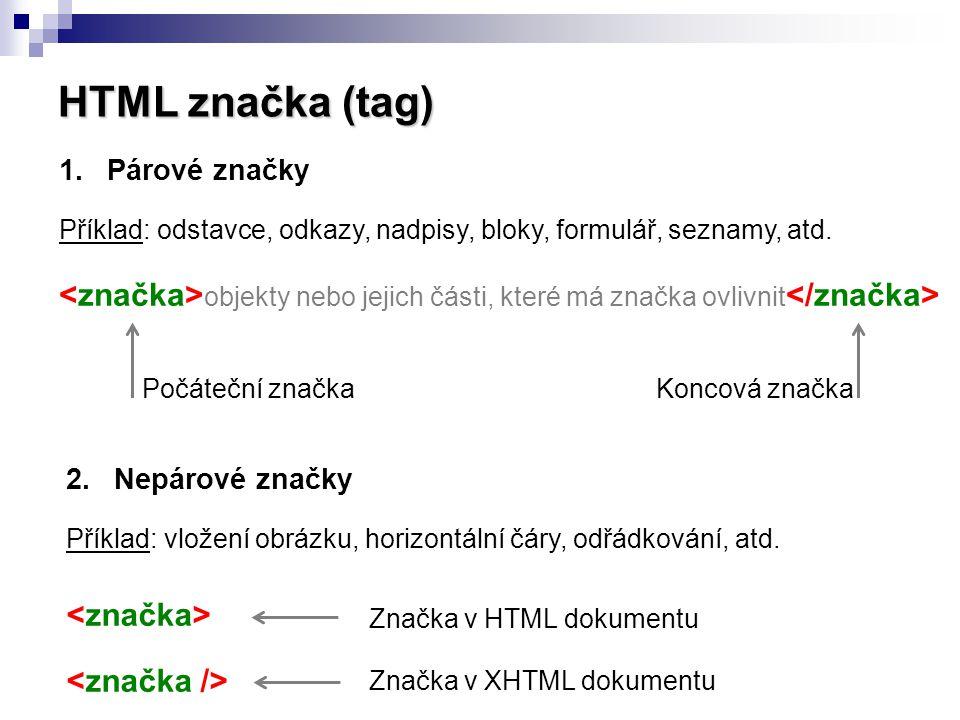 HTML značka (tag) 1.Párové značky Příklad: odstavce, odkazy, nadpisy, bloky, formulář, seznamy, atd. objekty nebo jejich části, které má značka ovlivn