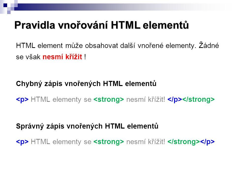 Pravidla vnořování HTML elementů HTML element může obsahovat další vnořené elementy. Žádné se však nesmí křížit ! Chybný zápis vnořených HTML elementů