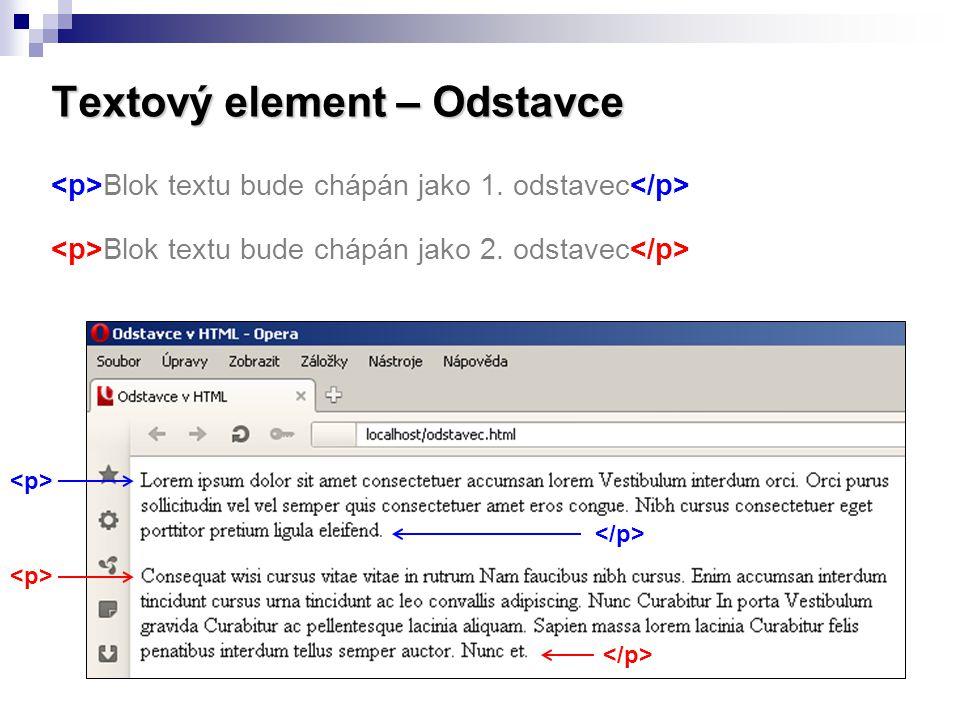Textový element – Odstavce Blok textu bude chápán jako 1. odstavec Blok textu bude chápán jako 2. odstavec
