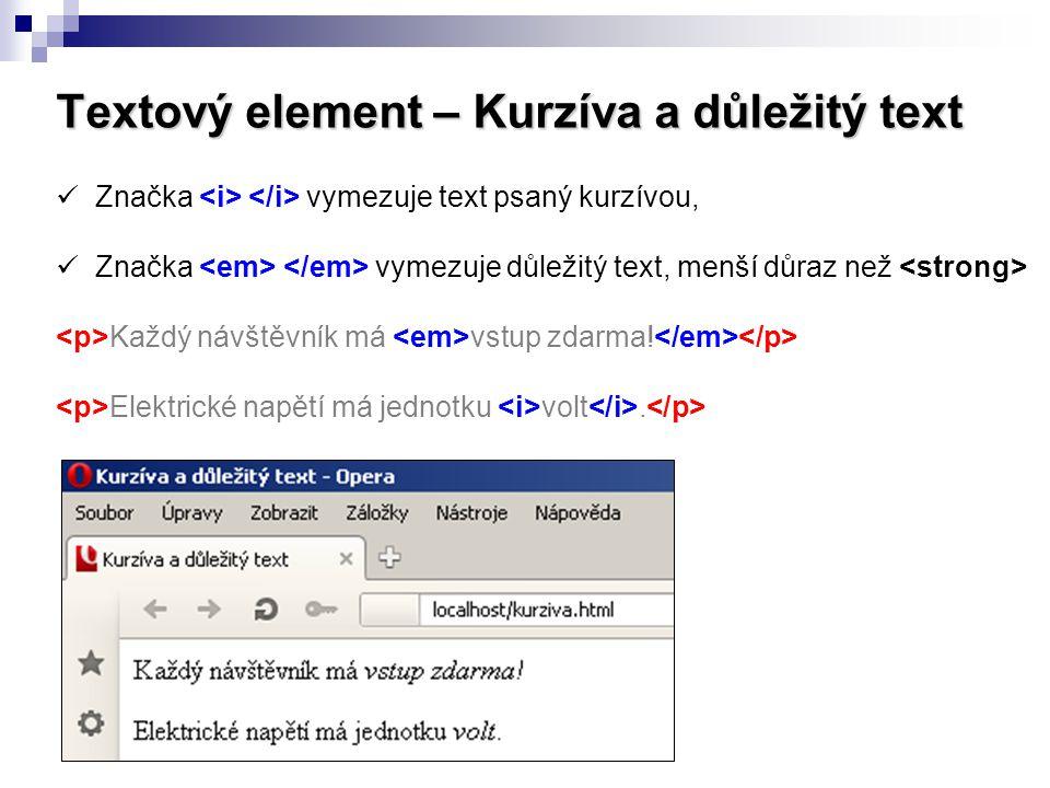 Textový element – Kurzíva a důležitý text Značka vymezuje text psaný kurzívou, Značka vymezuje důležitý text, menší důraz než Každý návštěvník má vstu