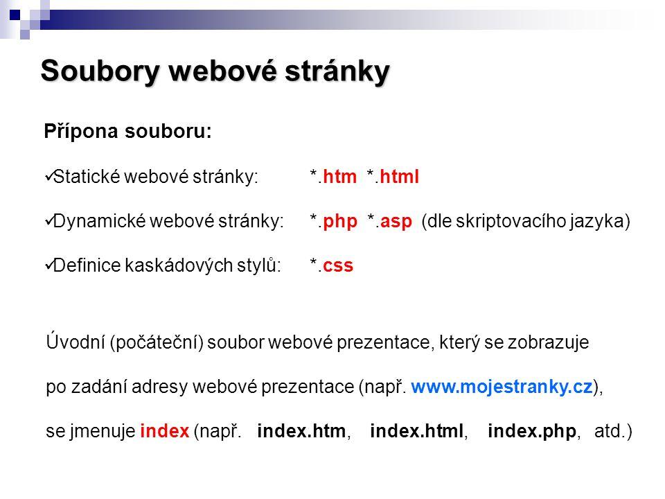 Soubory webové stránky Přípona souboru: Statické webové stránky:*.htm *.html Dynamické webové stránky:*.php *.asp (dle skriptovacího jazyka) Definice