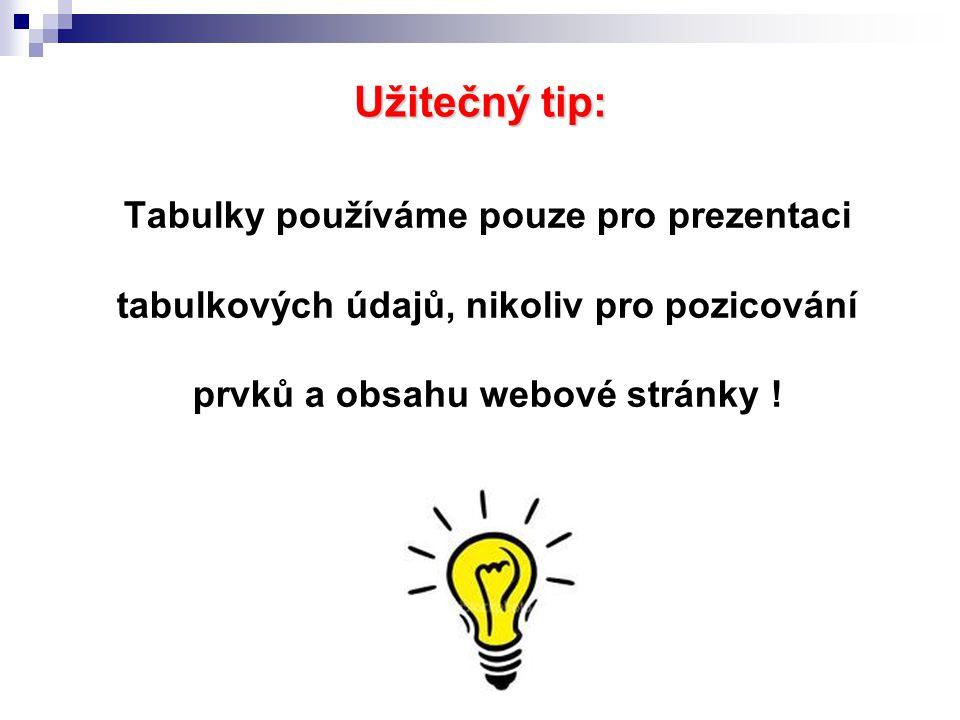 Užitečný tip: Tabulky používáme pouze pro prezentaci tabulkových údajů, nikoliv pro pozicování prvků a obsahu webové stránky !