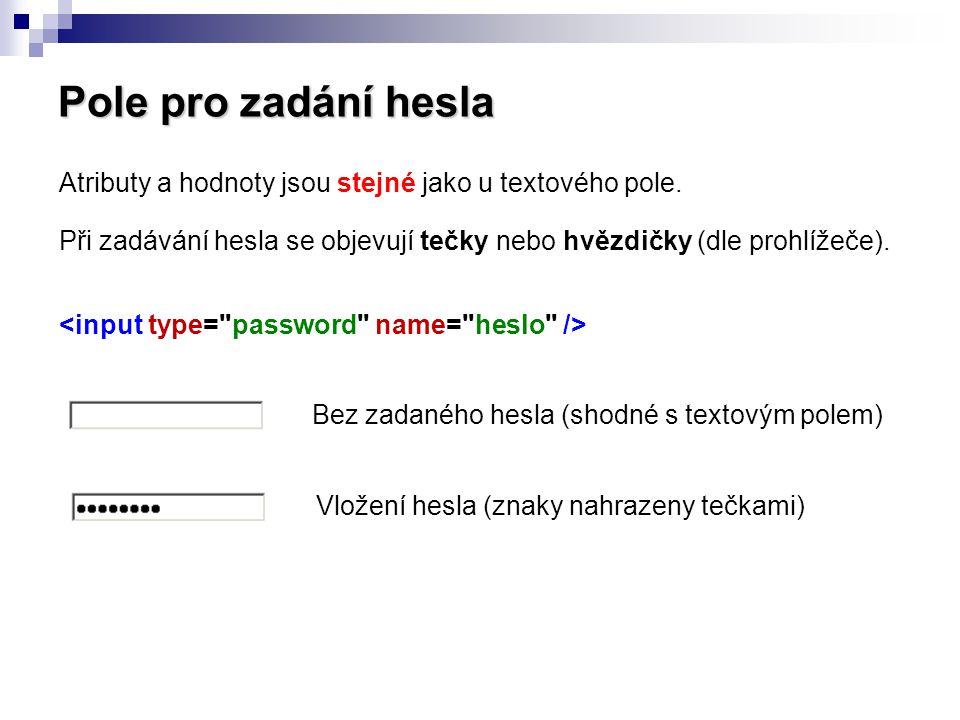 Pole pro zadání hesla Atributy a hodnoty jsou stejné jako u textového pole. Při zadávání hesla se objevují tečky nebo hvězdičky (dle prohlížeče). Bez