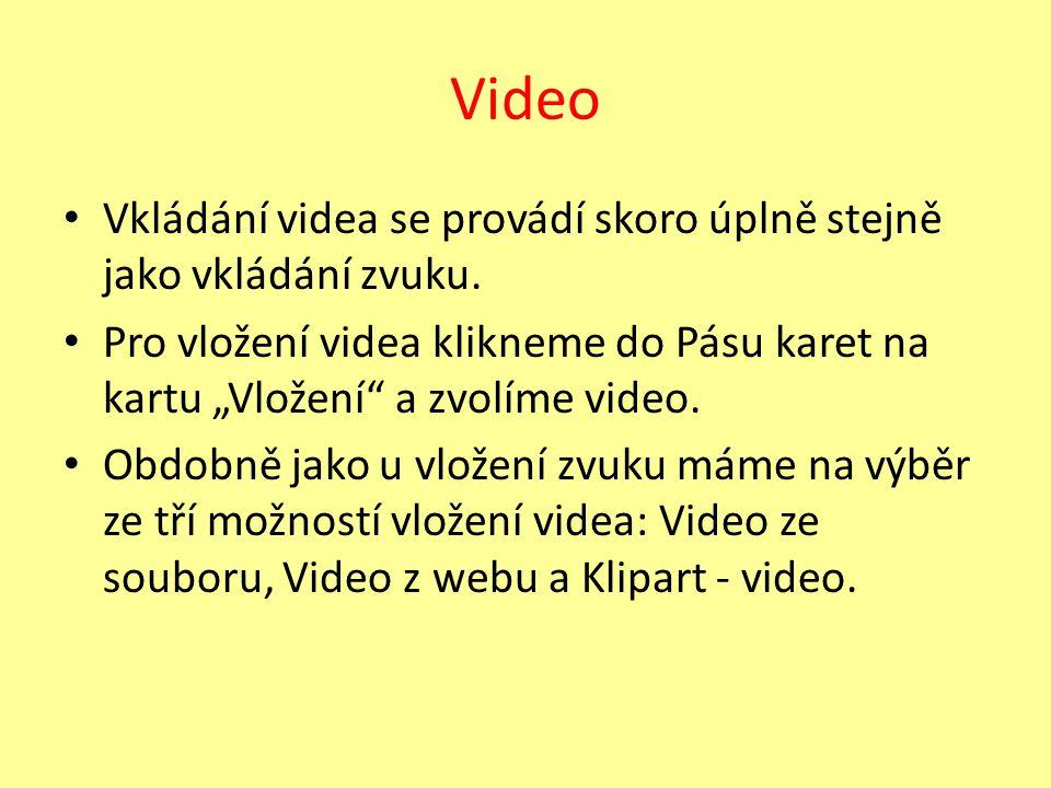 Video Vkládání videa se provádí skoro úplně stejně jako vkládání zvuku.