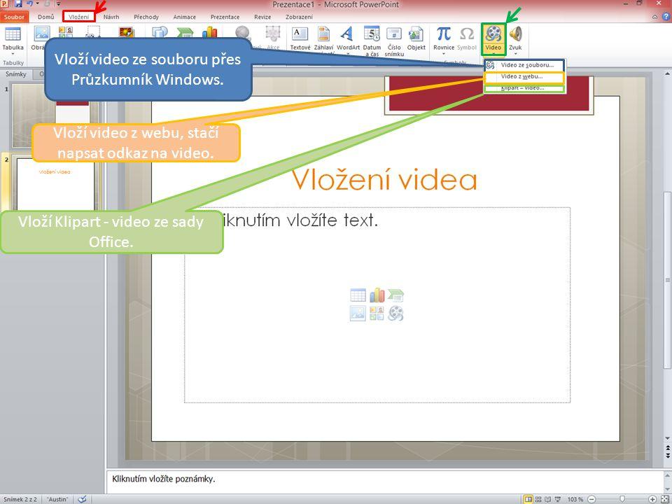 Vloží video ze souboru přes Průzkumník Windows. Vloží video z webu, stačí napsat odkaz na video.