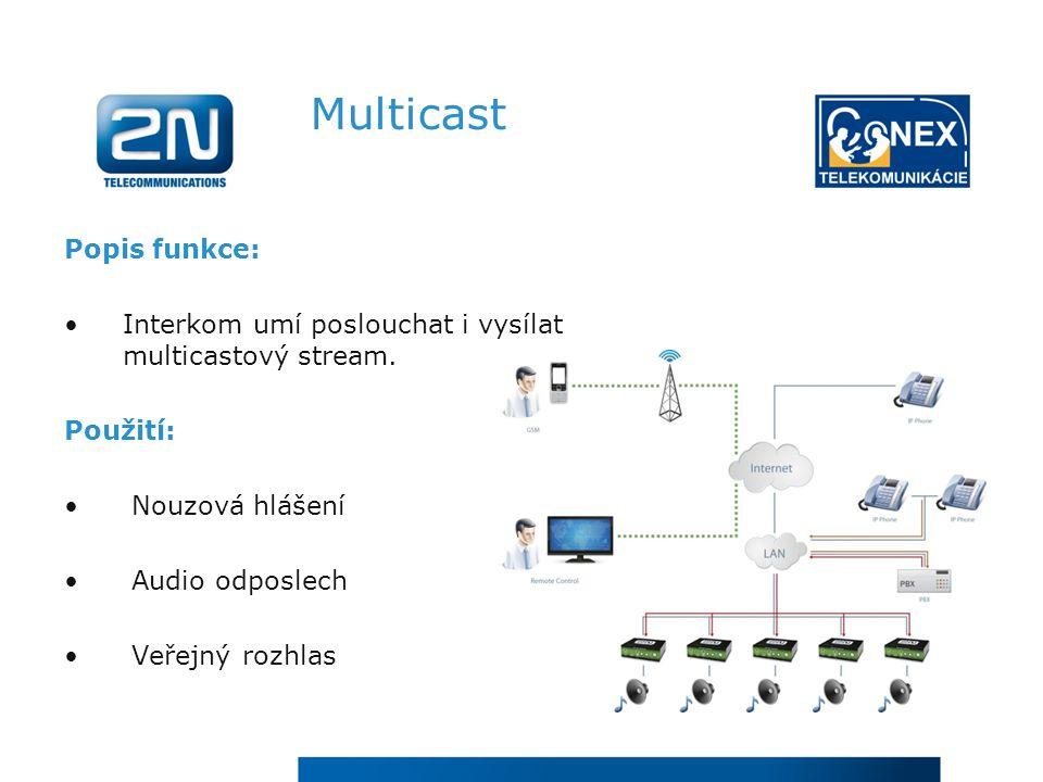 Multicast Popis funkce: Interkom umí poslouchat i vysílat multicastový stream.