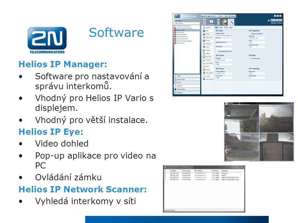 Software Helios IP Manager: Software pro nastavování a správu interkomů.