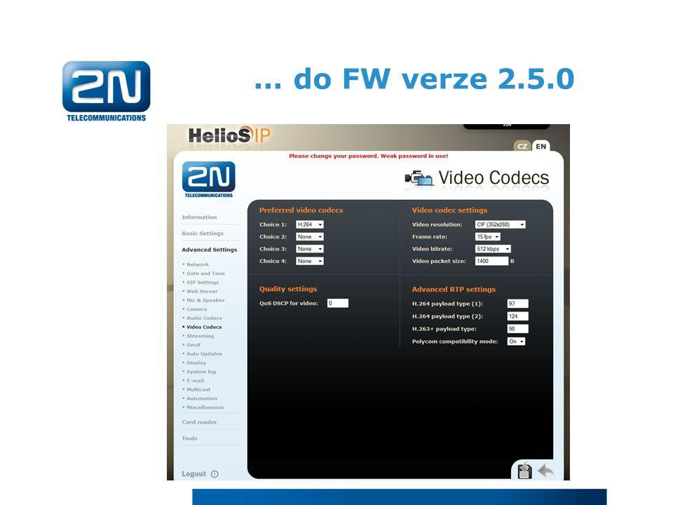 ... do FW verze 2.5.0