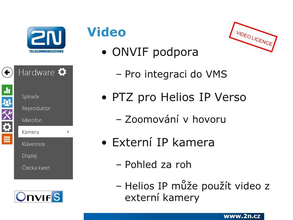 Video ONVIF podpora –Pro integraci do VMS PTZ pro Helios IP Verso –Zoomování v hovoru Externí IP kamera –Pohled za roh –Helios IP může použít video z