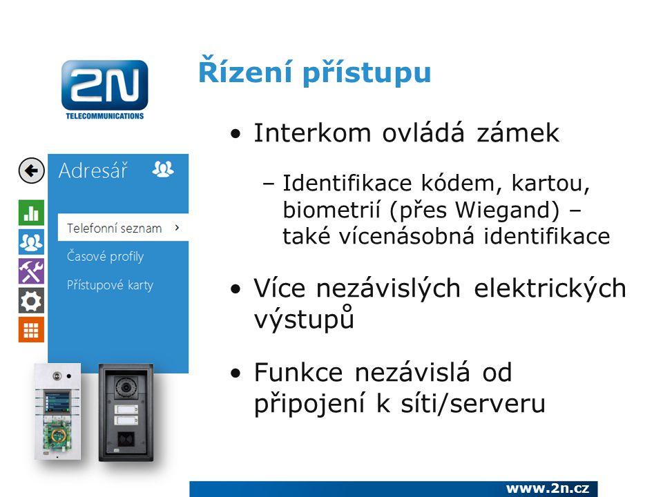 Řízení přístupu Interkom ovládá zámek –Identifikace kódem, kartou, biometrií (přes Wiegand) – také vícenásobná identifikace Více nezávislých elektrick