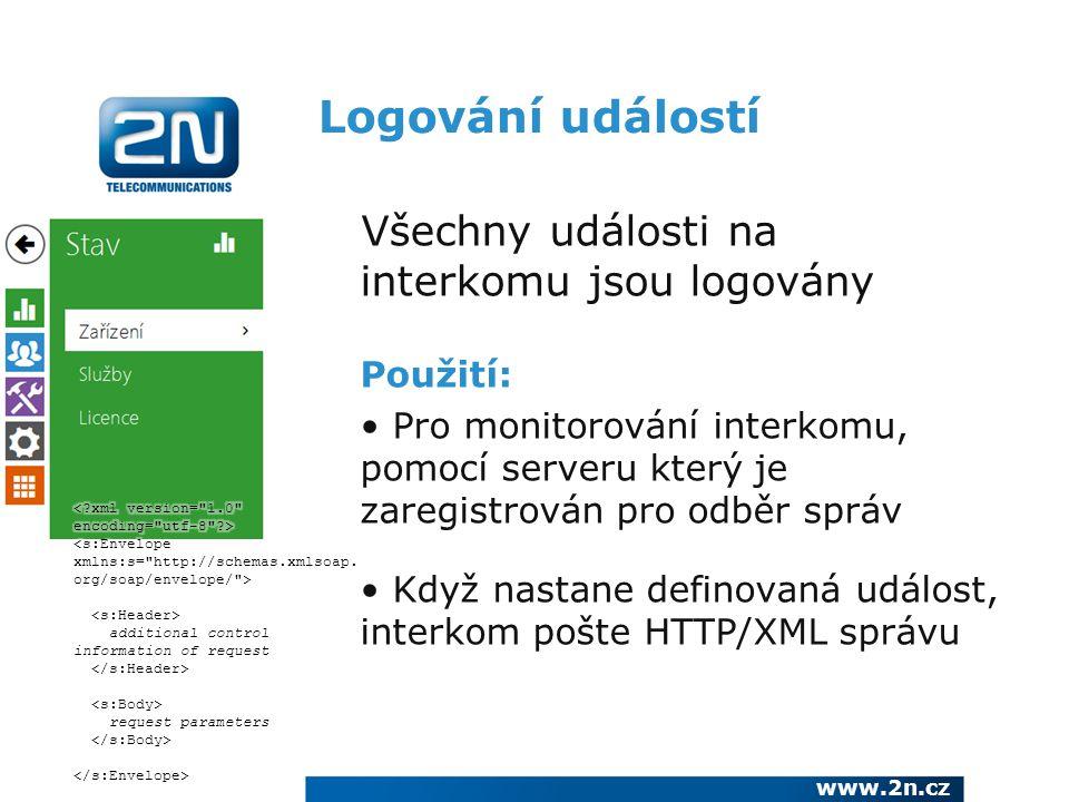 Logování událostí Všechny události na interkomu jsou logovány Použití: Pro monitorování interkomu, pomocí serveru který je zaregistrován pro odběr spr