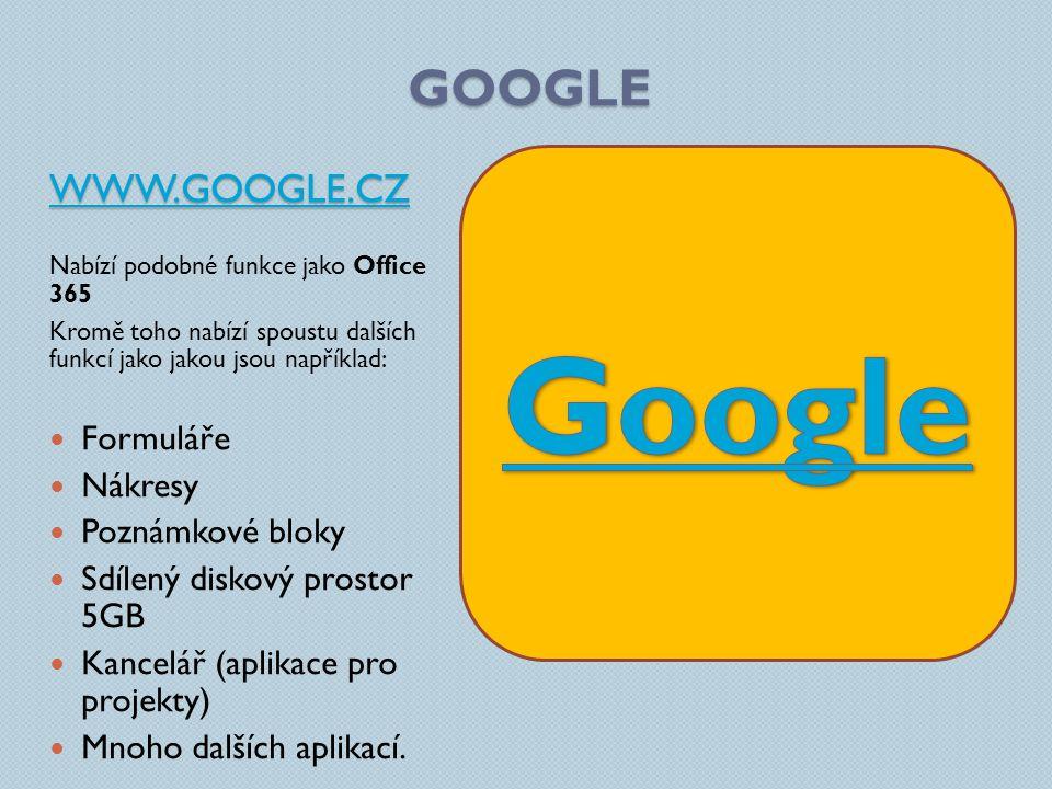 GOOGLE WWW.GOOGLE.CZ Nabízí podobné funkce jako Office 365 Kromě toho nabízí spoustu dalších funkcí jako jakou jsou například: Formuláře Nákresy Poznámkové bloky Sdílený diskový prostor 5GB Kancelář (aplikace pro projekty) Mnoho dalších aplikací.